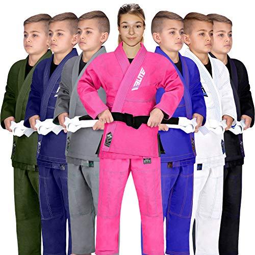 Elite Sports IBJJF Ultra Light BJJ Brazilian Jiu Jitsu Gi for Kids with Preshrunk Fabric and Free Belt, C1, Pink