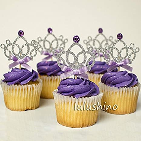 Amazon.com: Astra Gourmet 12 Counts Glitter Tiara Corona ...