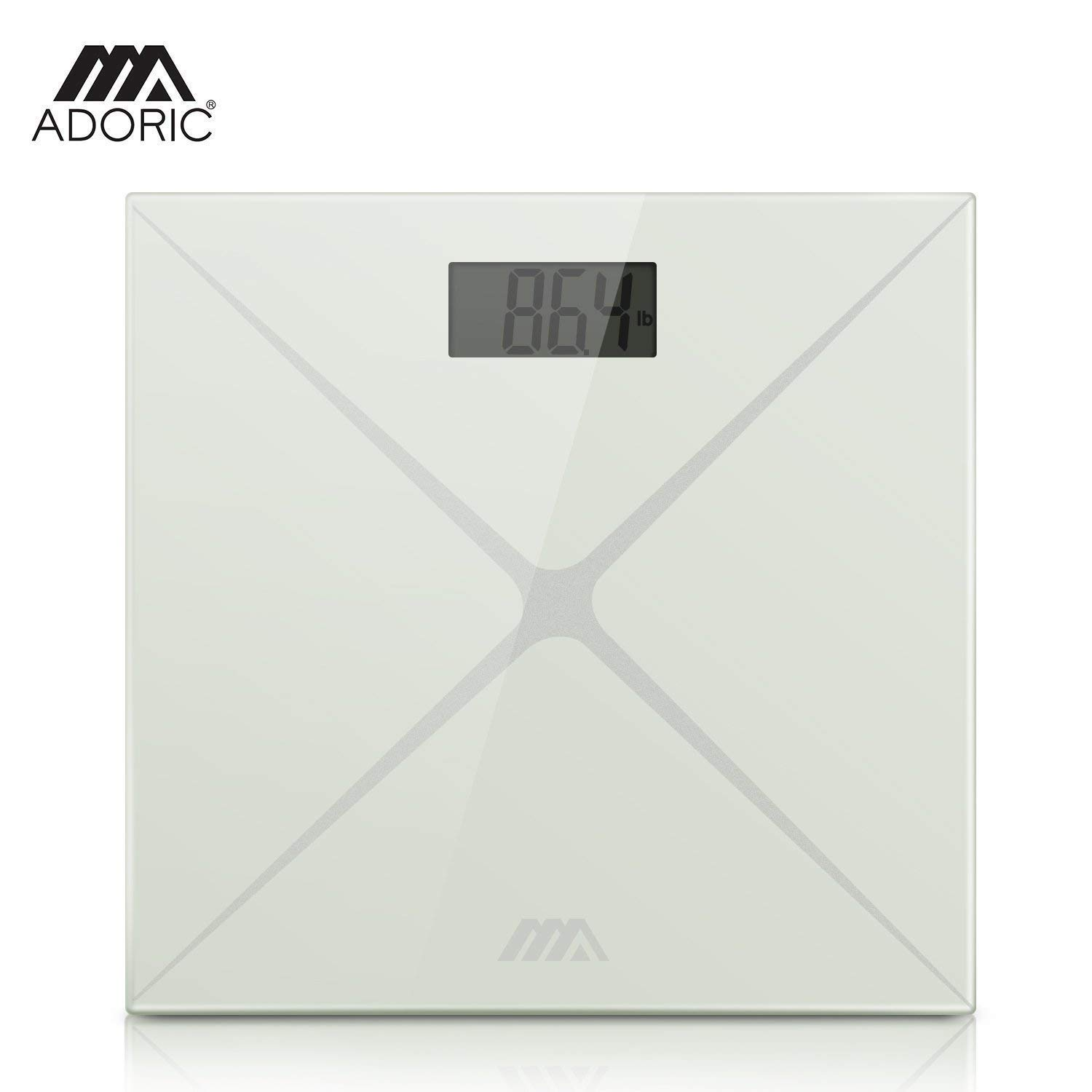 Bathroom Scales, Adoric Digital Body Weight Scales High Precision with Step-On Technology, Slim Design 6MM Tempered Glass, 28st/400lb/180kg Capacity Silver