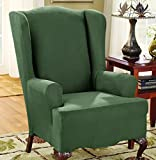 Sure Fit Stretch Suede - Wing Chair Slipcover - Dark Green (SF36472) by Surefit