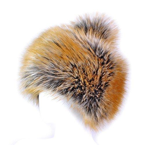 Futrzane Faux Fox Fur Winter Tatars Hat for Women Cossack Pompom Ski