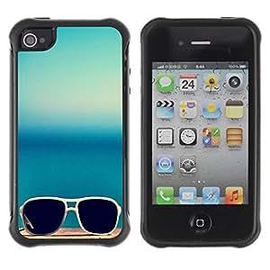 Híbridos estuche rígido plástico de protección con soporte para el Apple iPhone 4 / 4S - sunglasses summer sea blue beach
