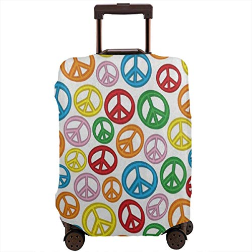 Luggage Cover Colorful Peace Sign Personalized Travel Suitcase Cover Protector Bag Dustproof Washable Fits 18-32 Inch Luggage ()