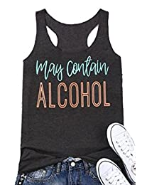 ce48d11bd15fb SPORSET Women May Contain Alcohol Letters Print Sleeveless Summer Tank Tops  T-Shirt
