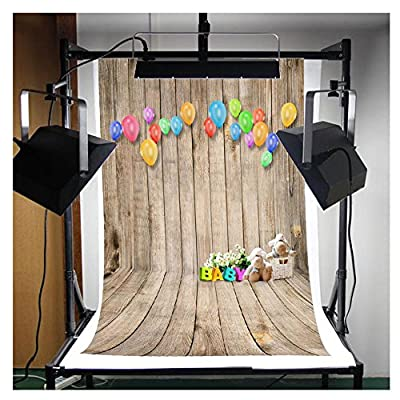 5x7ft Vinyl Cloth Colorful Balloon Cute Bear Wooden Theme Studio Photo Photography Background Studio Backdrop Props best for Personal Photo, Wall Decor, Baby, Children, Kids, Newborn Photo