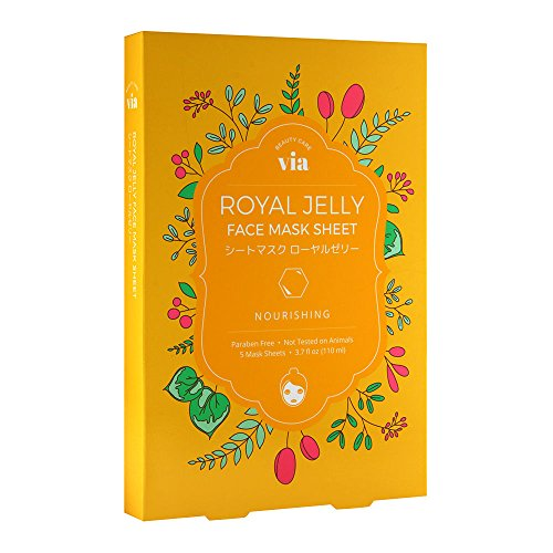 Via Beauty Care Royal Jelly Face Mask Sheet Nourishing 5x3.7oz ()