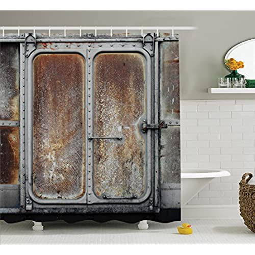 Industrial Decor Shower Curtain Set By Ambesonne, Vintage Railway Container  Door Metal Old Locomotive Transportation Iron Power Design, Bathroom  Accessories ... Design Inspirations