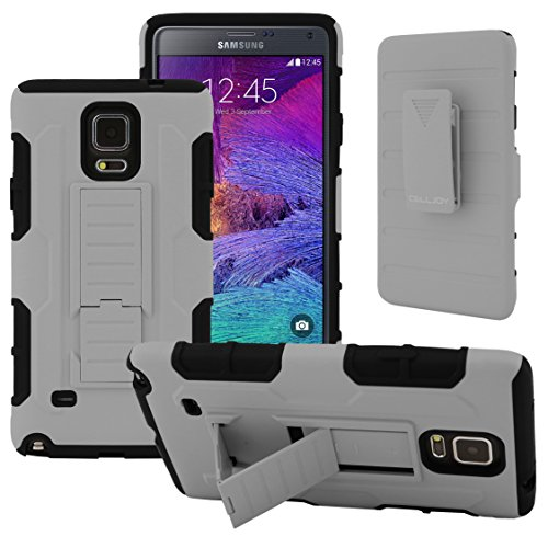 Galaxy Note 4 Case, CellJoy [Robot Armor] Hybrid Kick Stand Case with Belt Clip Holster For Samsung Galaxy Note 4 IV N910, Heavy Duty ProtectionShockproof (Gray)
