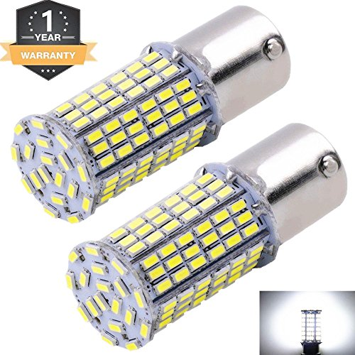 Cargo LED Extremely Super Bright 1156 1141 1003 1073 BA15S 7506 LED 144 SMD 3014 Replacement Light Bulbs 1400 Lumens,Used For Backup Reverse Lights 6000K Xenon White 12v-24v (Pack of 2)