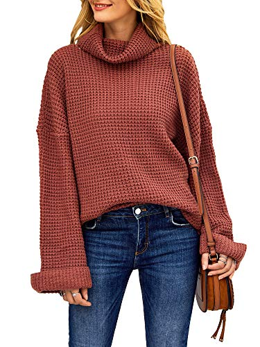 Tutorutor Womens Casual Turtleneck Chunky Sweaters Pullover Oversized Batwing Sleeve Loose Knitted Baggy Slouchy Jumper (Small, As Show)