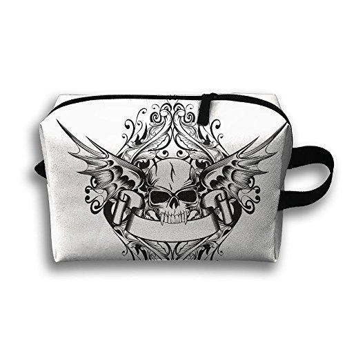 (Wing Skull Travel Bag Cosmetic Bags Brush Pouch Portable Makeup Bag Zipper Wallet Hangbag Pen Organizer Carry Case Wristlet Holder)