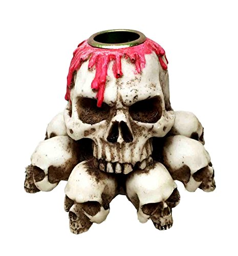 Skull Heaps Graveyard of Death and Blood Tabletop Candle Holder Resin -
