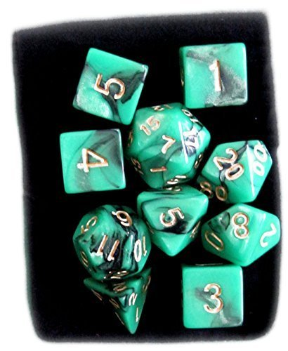 Custom & Unique {Standard Medium} 10 Ct Pack Set of [D4, D6, D8, D10, D12, D20] Assorted Polyhedral Shapes Playing & Game Dice w/ Simple Pearl Design [Turquoise Green, Black & White] w/ Dice Bag
