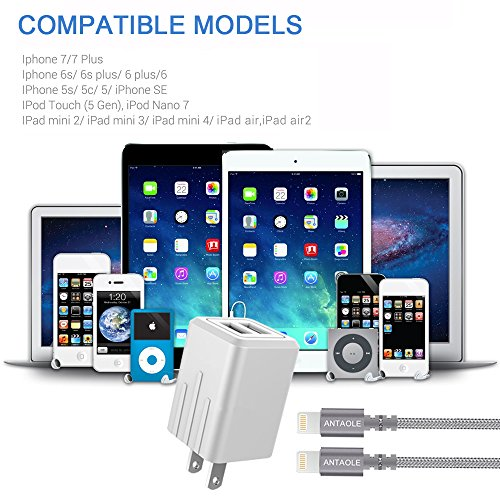 ANTAOLE Lightning Cable, Nylon Braided Charging Cord 2 Pack 6ft Data Sync iPhone Charger Foldable Dual Port Charger Compatible iPhone/iPad/iPod by ANTAOLE (Image #7)