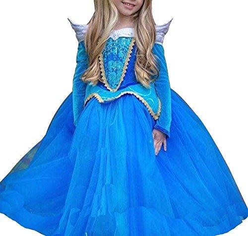 Little Girls Sleeping Beauty Princess Aurora Party Cosplay Costume Dress size 110/3-4Years -