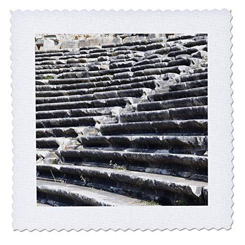 3dRose Danita Delimont - Turkey - Turkey, Anatolia, Aydin Province, ruins of Miletus. Theater seats. - 10x10 inch quilt square (qs_312869_1)
