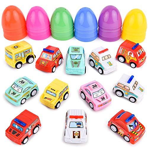 Rainbrace Plastic Easter Eggs Filled Toys Inside,Prefilled Mini Cars Surprise Eggs Basket,Boys Kids Easter Stuffer Easter Eggs Hunt Party Favors 12 PCS ()