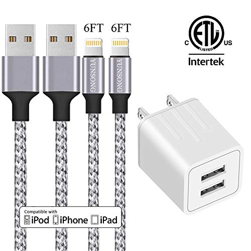 iPhone Charger, YUNSONG Nylon Braided Lightning Cable 2Pack 6ft Data Sync Transfer Cord 2-USB Rapid Charging Plug Wall Charger(ETL Listed) Compatible with iPhone Xs MAX XR X 8 7 6S 6 Plus 5S SE iPad