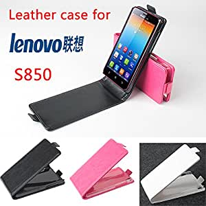 High Quality New Original Lenovo S850 Leather Case Flip Cover for Lenovo S 850 Case Phone Cover In Stock Free Shipping --- Color:Black