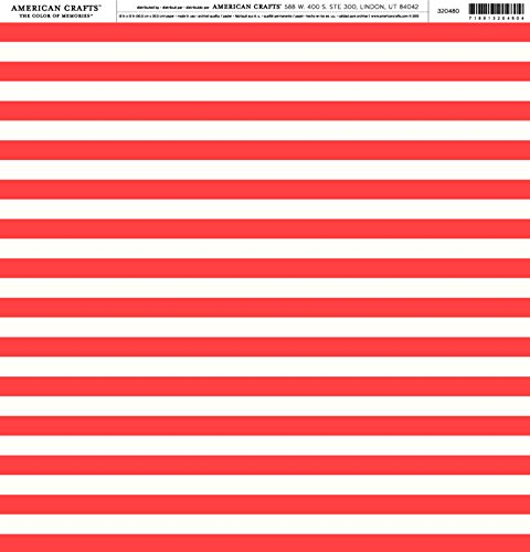 American Crafts - Pebbles -America The Beautiful - Cardstock 12 x 12 Paper Pattern Flag Stripes