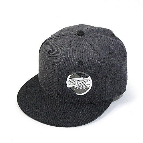 (Premium Heather Wool Blend Flat Bill Adjustable Snapback Hats Baseball Caps (Various Colors) (Black/Heather Black))