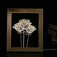 POTO 3D LED Light Wood Rose Picture Frame Desk Lamp Room Decoration USB Night Lights