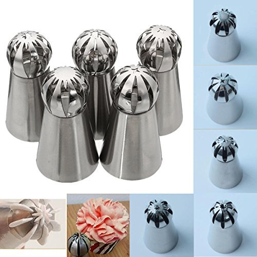 Shop24Hrs 5pcs Stainless Steel Sphere Ball Icing Piping Nozzle Cupcake Pastry Tips Decor