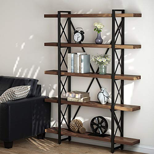 (LITTLE TREE 5 Tier Bookcase, Solid Wood 5-Shelf Industrial Style Bookcases and Book Shelves, Metal and Wood Free Vintage Bookshelf, Retro)