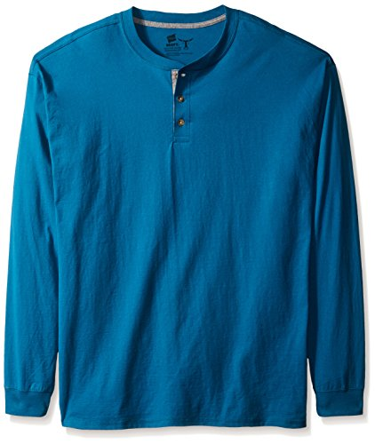 Hanes Men's Long-Sleeve Beefy Henley Shirt, Petro Teal, 2X Large