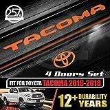All-Weather (Gloss Orange) Tacoma Doors Sill Protector Insert Letters & Logo Sticker Full Set 4 Door Vinyl Decals 2016 2017 2018 Toyota