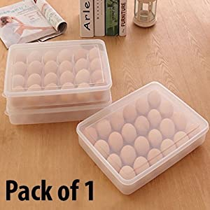 Zollyss Egg Storage Box with Lid for 24 Eggs, Transparent, Plastic – (Pack of 1)