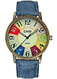 CIVO Men's Women's Denim Leather Watch Band Bronze Case Wrist Watch Business Casual Retro Vintage Style