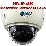 GW Security 8 Megapixel 4K (3840x2160) 2.8-8mm 3X Optical Motorized Zoom Outdoor Indoor IK10 Vandalproof Onvif H.265 8MP Dome PoE IP Camera, 80FT Night Vision