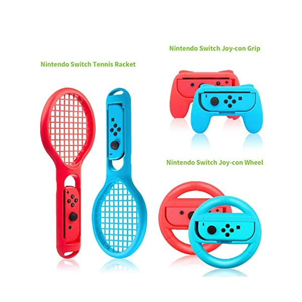 Zadii Accessories Bundle Compatible with Nintendo Switch, Accessories Kit with Tennis Racket, Steering Wheel, Joy-con… 5