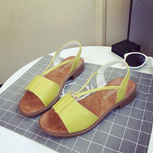 Saingace Mode Frauen Damen Schuhe Bohemia flache Schuhe Sandalen Schuhe Gelb