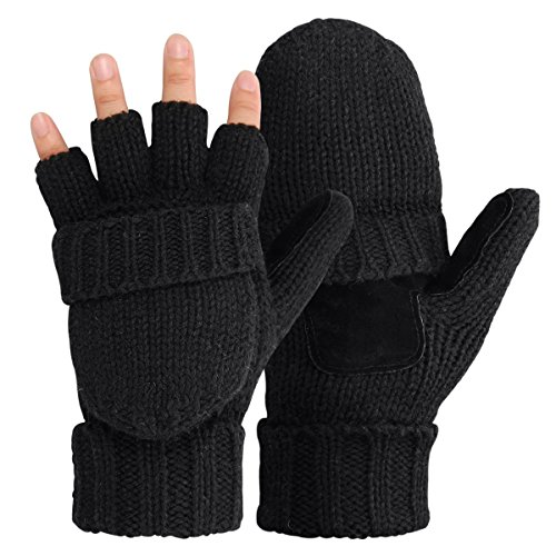 - OMECHY Winter Knitted Fingerless Gloves Thermal Insulation Warm Convertible Mittens Flap Cover for Men Women (BLACK, ONE SIZE)