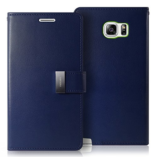 Galaxy NOTE 5 Case, GOOSPERY Rich Diary  Premium Soft Synthetic Leather Case  Cover  - Navy Blue