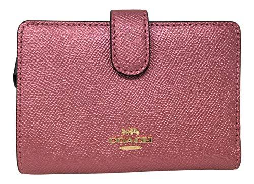 Coach Metallic Crossgrain Leather Medium Corner Zip Wallet F23256 Metallic Blush