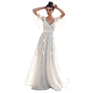 d53295685f4a2 SiQing Women Formal Wedding Bridesmaid Long Evening Party Prom Ball Gown  Cocktail Lace White Dress (