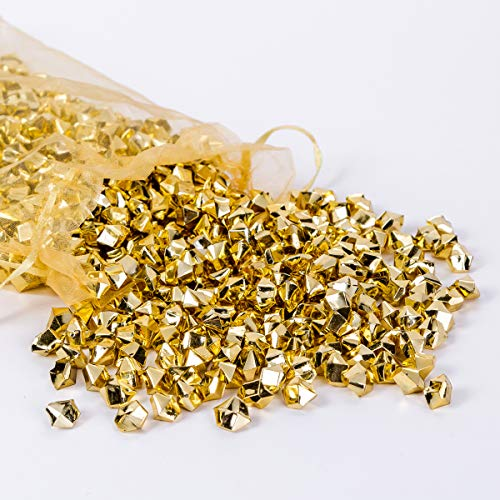 AiFanS Golden Nuggets for Table Scatter Decoration or Vase Filler(Metallic Gold,1.4cm,Pack of 755 Piece) (Gold Glass Vases Beads For)