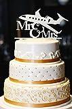 Mr & Mrs Wedding Cake Topper, Airplane Wedding Cake Topper, Gold Wedding Cake Topper, Wedding Cake Topper, Gold Glitter Wedding Cake Topper (14'', Pearl White)