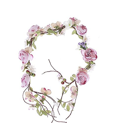 Newly arrived Rattan Flower Vine Crown Tiaras Necklace Belt Party Decoration (Pink-2) -