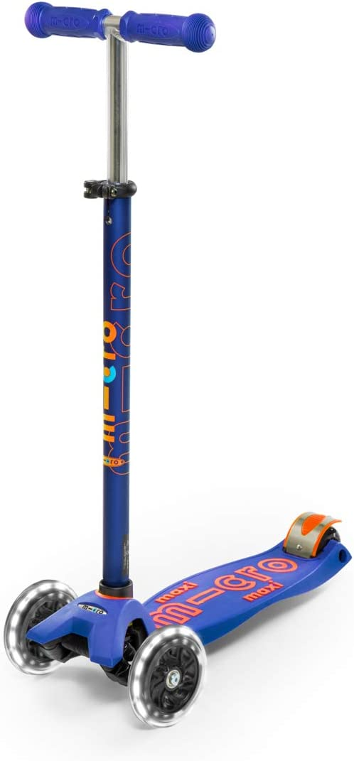 Micro® Maxi Deluxe LED, Patinete 3 Ruedas LED, 5-12 Años, Peso 2,5kg, Carga Máx 70Kg, Altura 67-91 cm, Plataforma Antideslizante Polipropileno (Flexible, Alta Resistencia) (Azul)