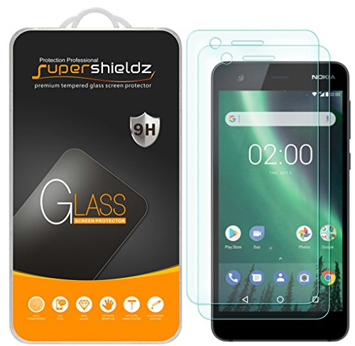 [2-Pack] Supershieldz for Nokia 2 Tempered Glass Screen Protector, Anti-Scratch, Bubble Free, Lifetime Replacement Warranty