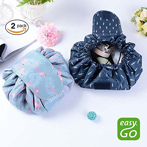 Price comparison product image Lazy Cosmetic Bag - Aolvo Pack of 2 Fashion Large Capacity Magic Makeup Bag Drawstring Multifunction Portable Toiletry Travel Bag Flamingo / Blue FeatherPattern
