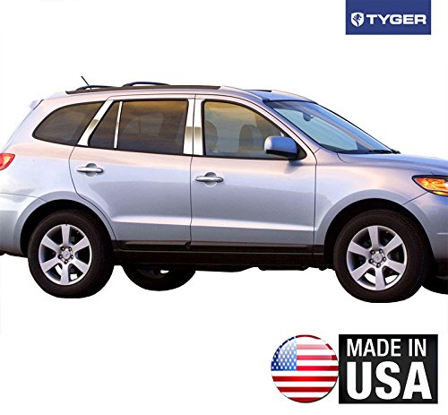 (Made in USA! Works with 2007-2012 Hyundai Santa Fe 8PC Stainless Steel Chrome Pillar Post Trim)