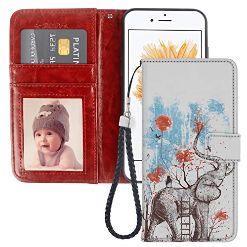 Elephant iPhone 5C Wallet Case JQLOVE PU Leather Flip Magnetic Clasp Multi-Card Slot Wristlet Phone Case for iPhone 5C Elephant