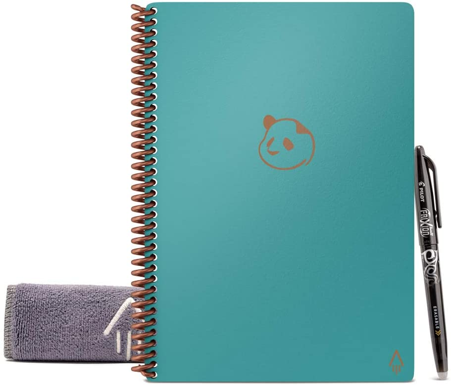 """Rocketbook Panda Planner - Reusable Academic Daily Planner with 1 Pilot Frixion Pen & 1 Microfiber Cloth Included - Teal Cover, Letter Size (8.5"""" x 11"""")"""
