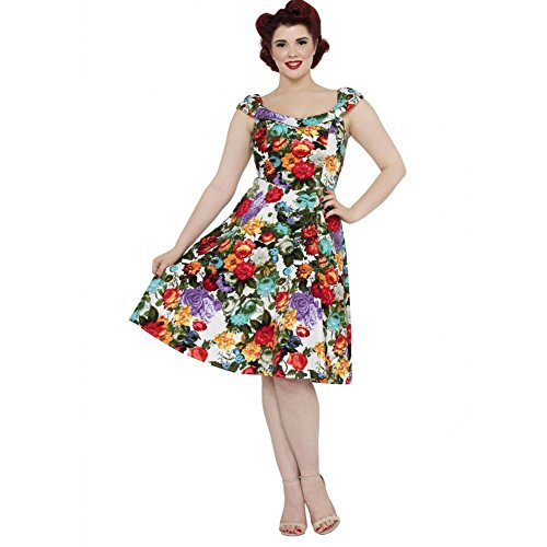 Womens-Voodoo-Vixen-Beryl-Colorful-Blooms-Flare-Dress-Red