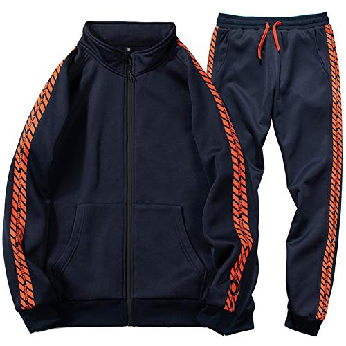 DUOFIER Mens Lightweight Soft and Durable Tracksuits and Sweatsuits, Blue-M